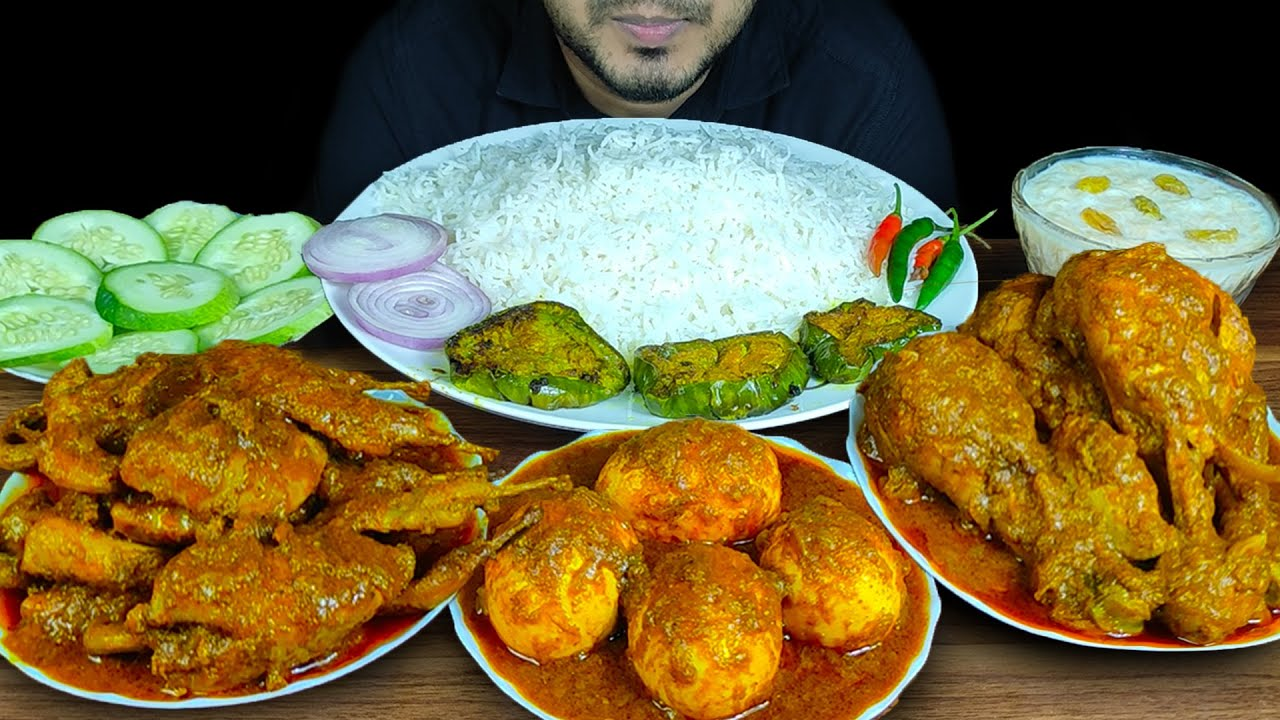 HUGE! 🔥 EATING CHICKEN LEG CURRY+SPICY QUAIL CURRY+EGGS CURRY+EGGPLANT FRY+SEMAI+SALAD+RICE   SOUNDS