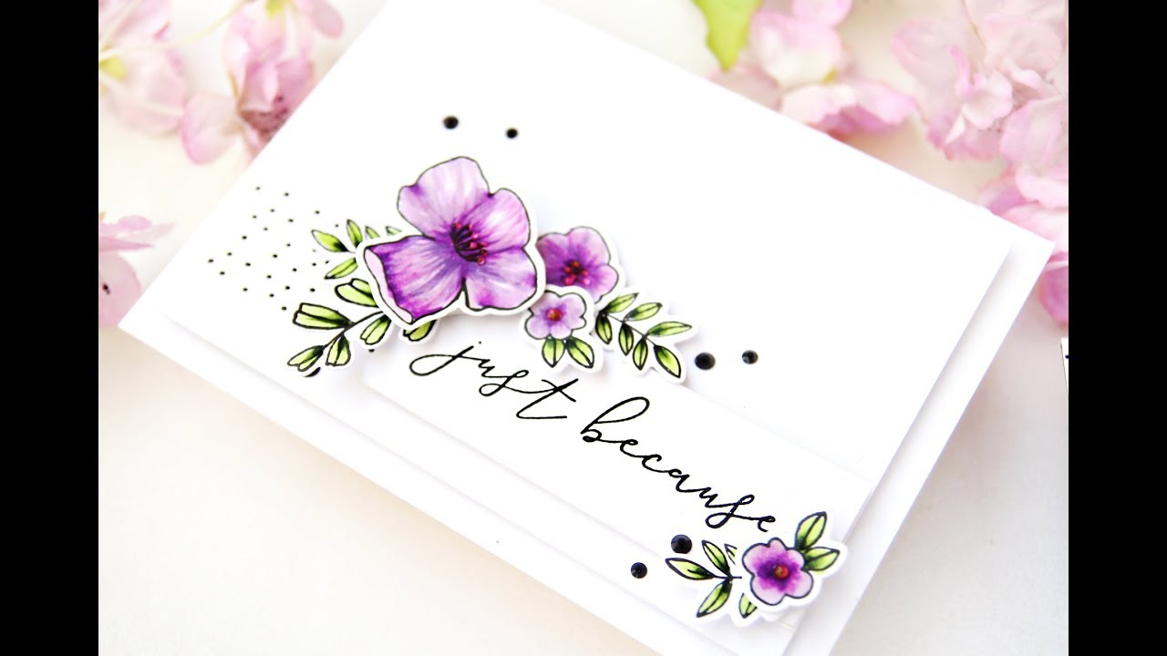 Clean and Simple Floral Card with Erum using PinkFresh ...
