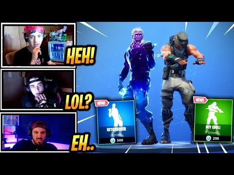 STREAMERS REACT *NEW* HITCHHIKER & MY IDOL EMOTE/DANCE!! - Fortnite Epic & Funny Moments (F BR)
