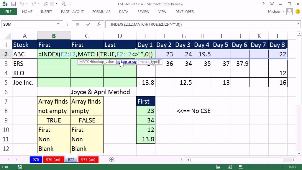 Excel Magic Trick 977: Lookup First Non Empty Cell In A Range, Lookup Last  Number In A Range