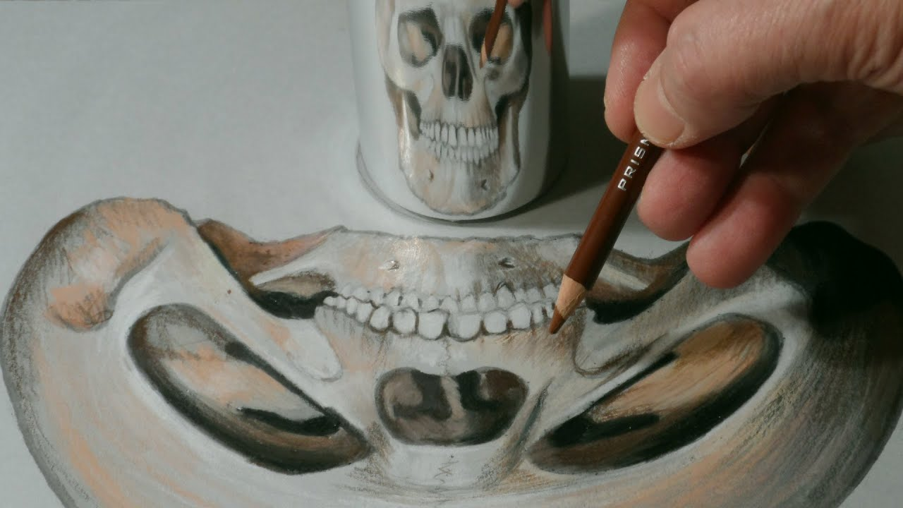 How to Draw Anamorphic Skull Halloween Illusion YouTube