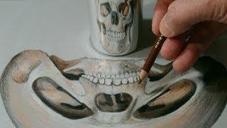 How to Draw Anamorphic Skull by Vamos