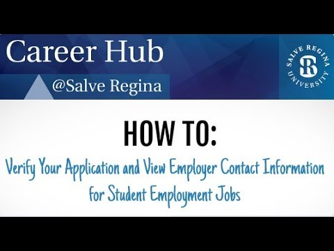 How to Verify Your Application and Your Employer Contact Information for Student Employment