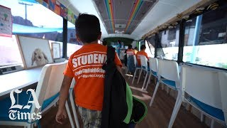 A converted school bus becomes a classroom for immigrant children in Tijuana