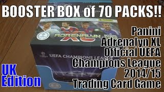BOOSTER BOX opening panini ADRENALYN XL CHAMPIONS LEAGUE 2014/15 trading cards 70 PACKS! 630 CARDS!