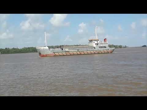 Guyana - Looking across the Demerara River from Demerara Shipping Wharf