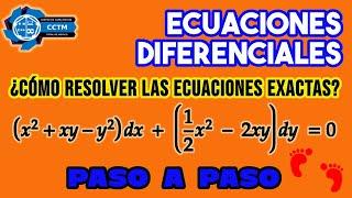 🤓 Ecuaciones Diferenciales Exactas | Ejemplo resuelto paso a paso |¡Muy básico!