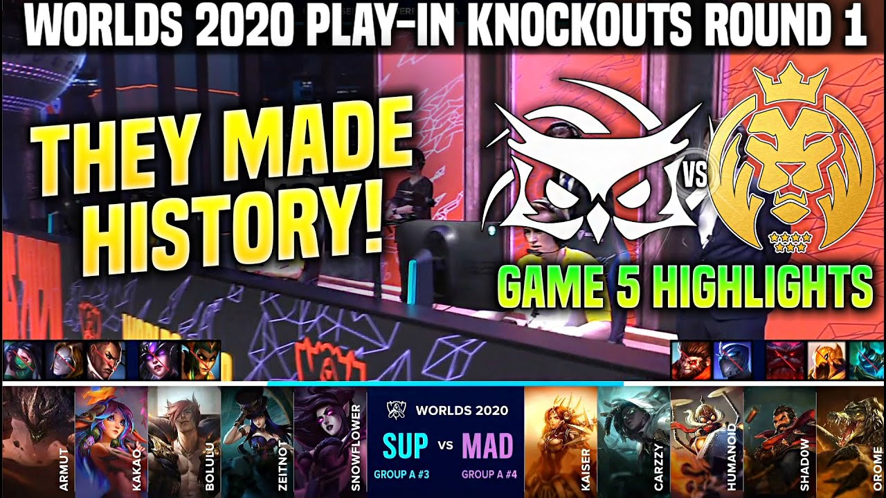SUP vs MAD Game 5 Highlights Worlds 2020 Play In Knockouts R1 - SuperMassive vs MAD Lions Game 5