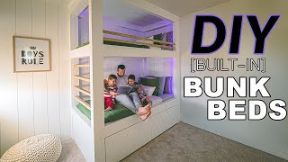 Diy Twin Built In Bunk Bed For Kids Youtube