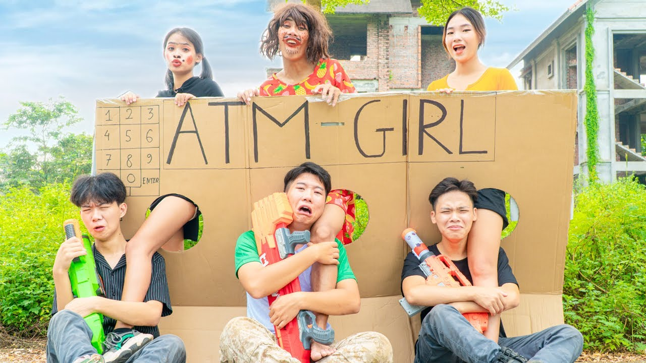 COMPETITION ATM UGLY GIRL BATTLE NERF - Squad SWAT Nerf Guns Fight Criminal Prank | League Nerf War