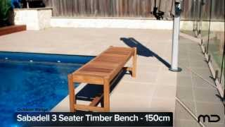 Sabadell 3 Seater Outdoor Timber Bench - 150cm - Milan Direct