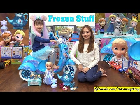Disney FROZEN Queen Elsa Doll, Teapot Play Set, Jewelry Box, Mini Surprise Boxes and Scooter