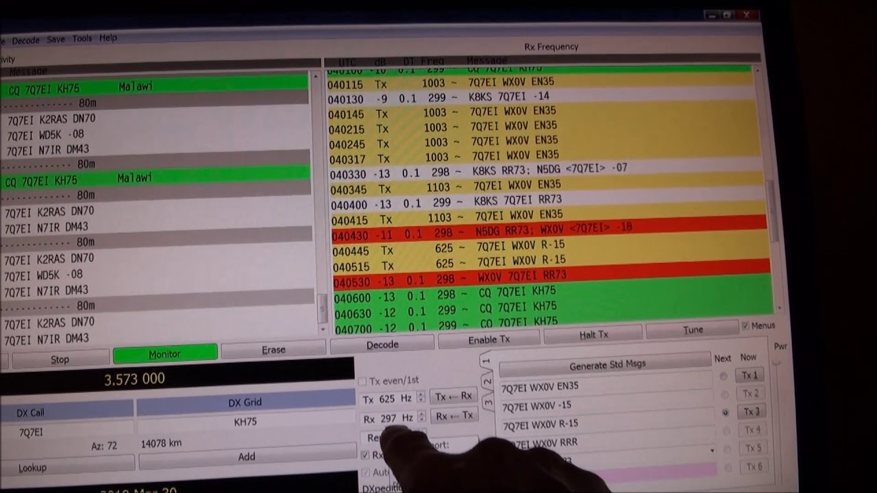7q7ei on 80m using ft8 dxpedition mode march 30 2018 youtube