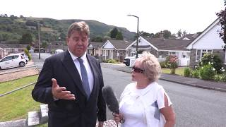 Brexit Party Gloucestershire's Christina Simmonds & Richard Ford campaigning in Ystradgynlais