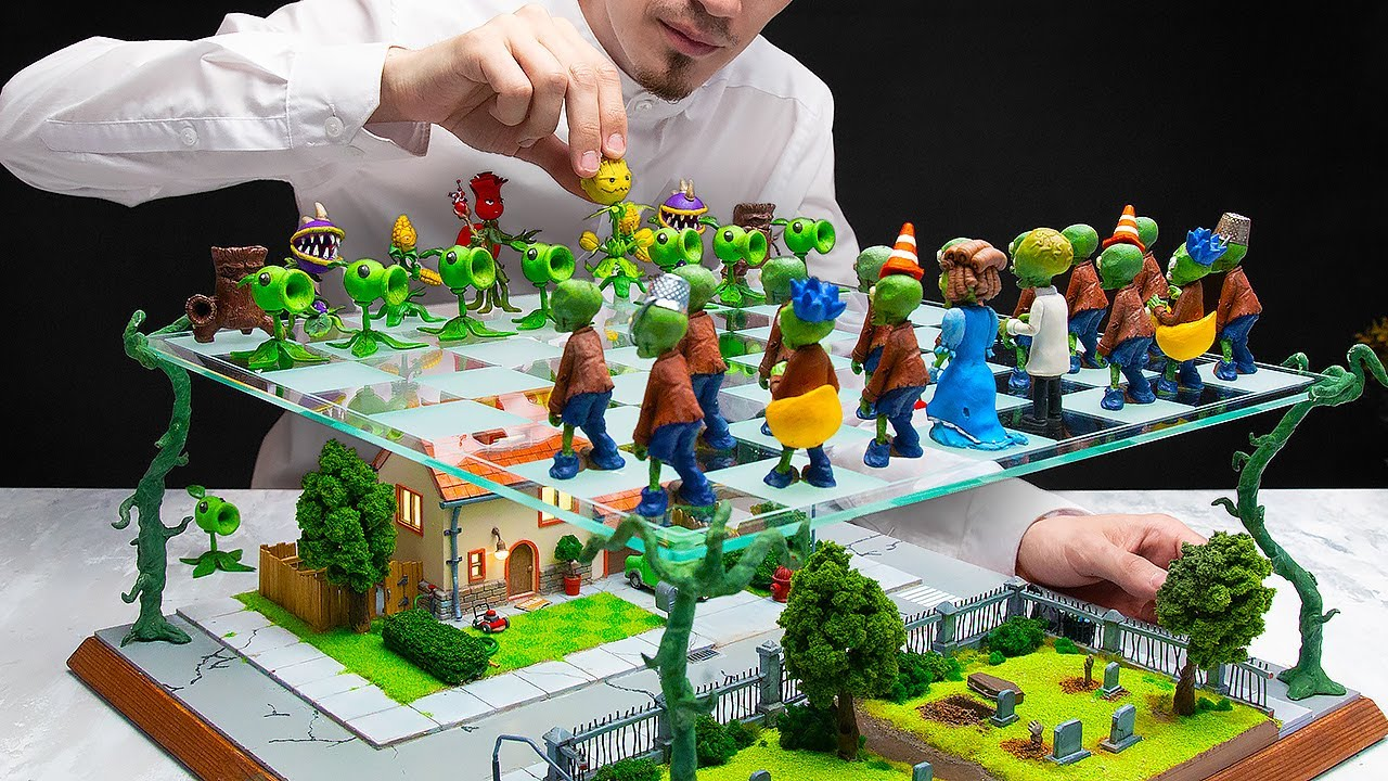 Two-Level Chess Board With Zombies Vs Plants Characters