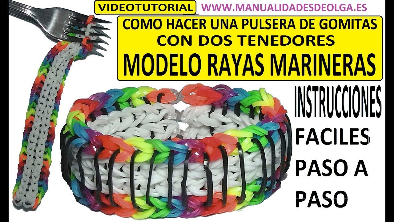 COMO HACER PULSERA DE GOMITAS RAYAS MARINERAS SAILORS PINSTRIPE
