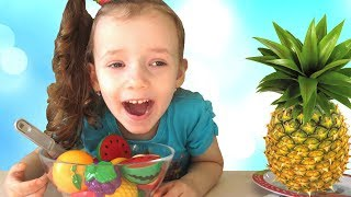 Learn names of fruits and vegetables with toy velcro cutting fruits and vegetables by UT kids