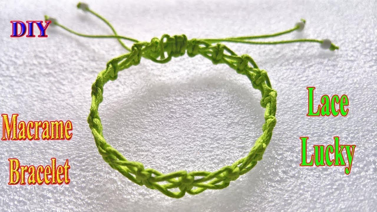 DIY macrame bracelet, Lace Lucky Bracelet Square Knot, macrame / MuuMuu,cách làm vòng tay=dây cói