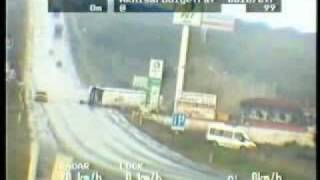 bad accident stupid car driver bus skid and crash on road