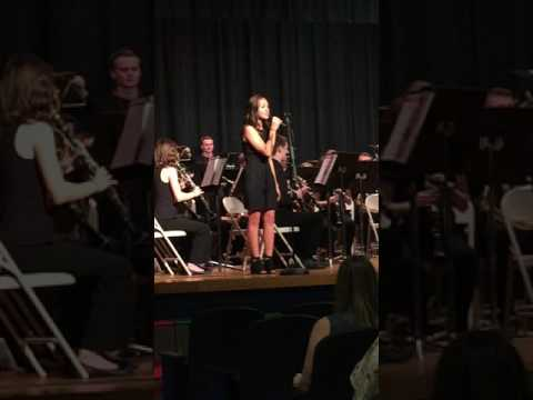 Emily Schultz with her Wren High School Concert Band - April 2017