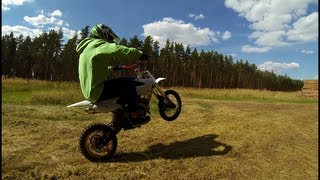 Sky Pit bike wheelie practise and chasing pocketbike GoPro