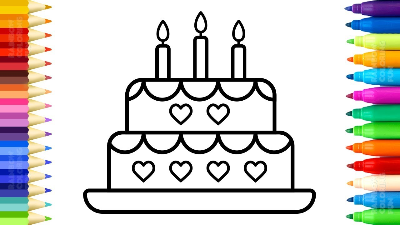 How To Draw Birthday Cake For Kids Learn Colors With Cake And