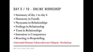 Day5 - Universal Human Values / Jeevan Vidya Online Workshop - Suman Yelati