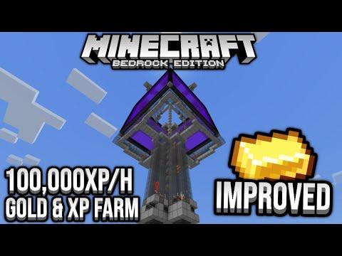 Improved Fast Gold & XP Farm 100,000XP/h Minecraft Bedrock Tutorial 1.14