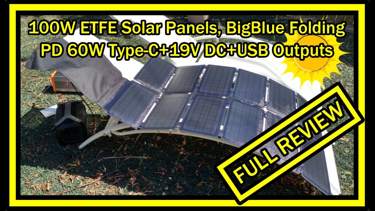 RV Battery Compatible with Laptops Cellphones etc. Generators BigBlue 100W ETFE Solar Panels IP65 Waterproof Lightweight /& Portable Folding Solar Charger with PD 60W Type-C+19V DC+USB Outputs
