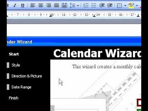 Microsoft Office Word 2003 Create a calendar - YouTube