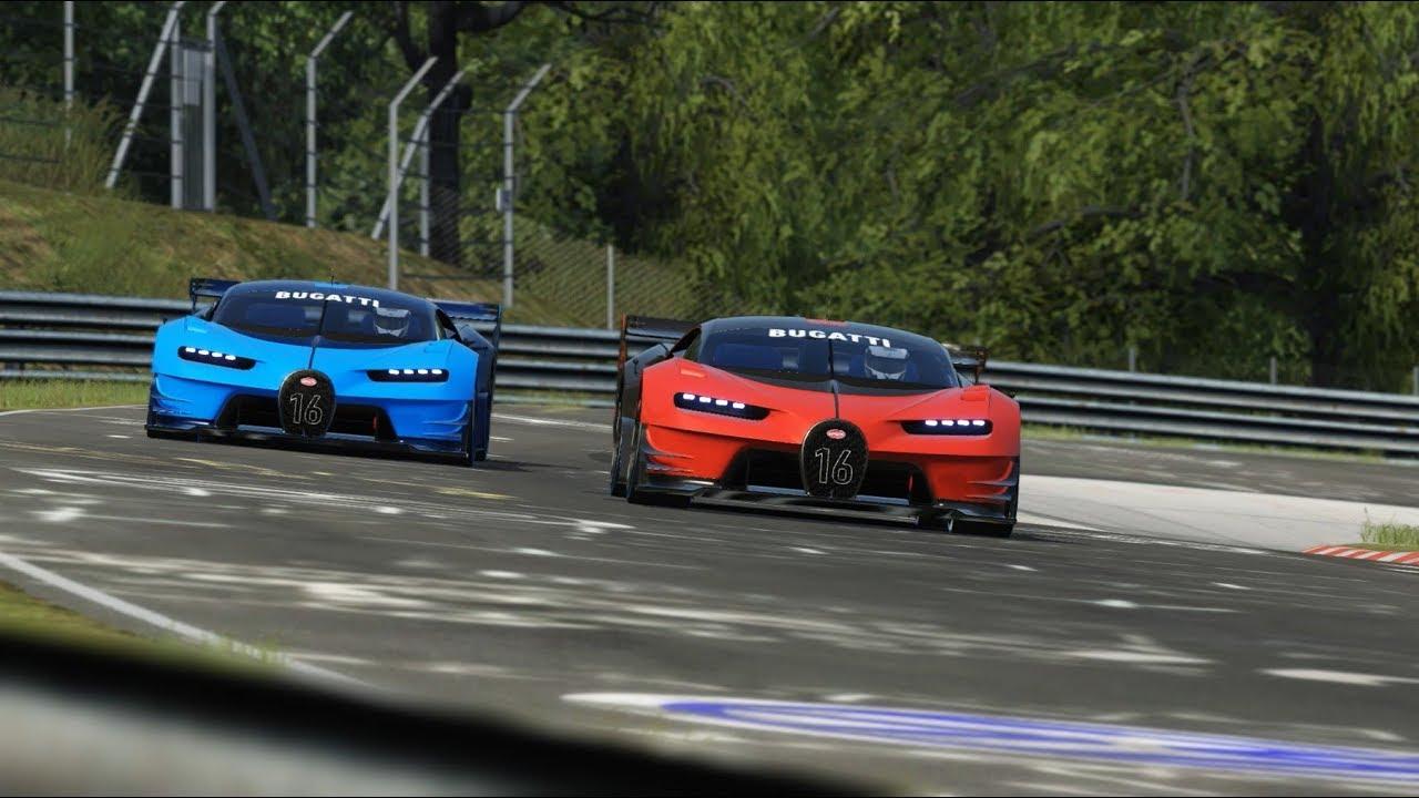 Bugatti Vision GT Red vs Bugatti Vision GT Blue at Nordschleife