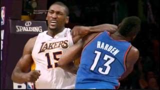 Metta World Peace Elbows James Harden