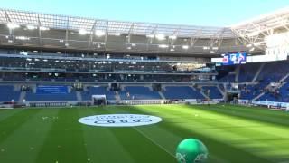 Überblick über die wirsol rhein-neckar-arena - heimat von tsg 1899 hoffenheim. aufgenommen am 3. dezember 2016 vor dem bundesligaspiel gegen den 1. fc köln.s...