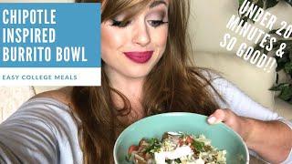 EASY COLLEGE MEAL | Chipotle Burrito Bowl & Homemade Pico de Gallo