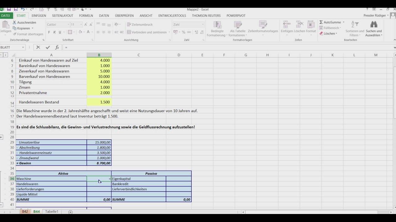 FH Wien - Unternehmensfinanzierung - Beispiel 44 - G&V, Bilanz, Cash ...