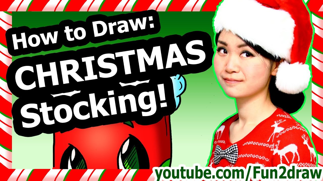 To draw christmas cute stocking fun2draw winter holiday decoration