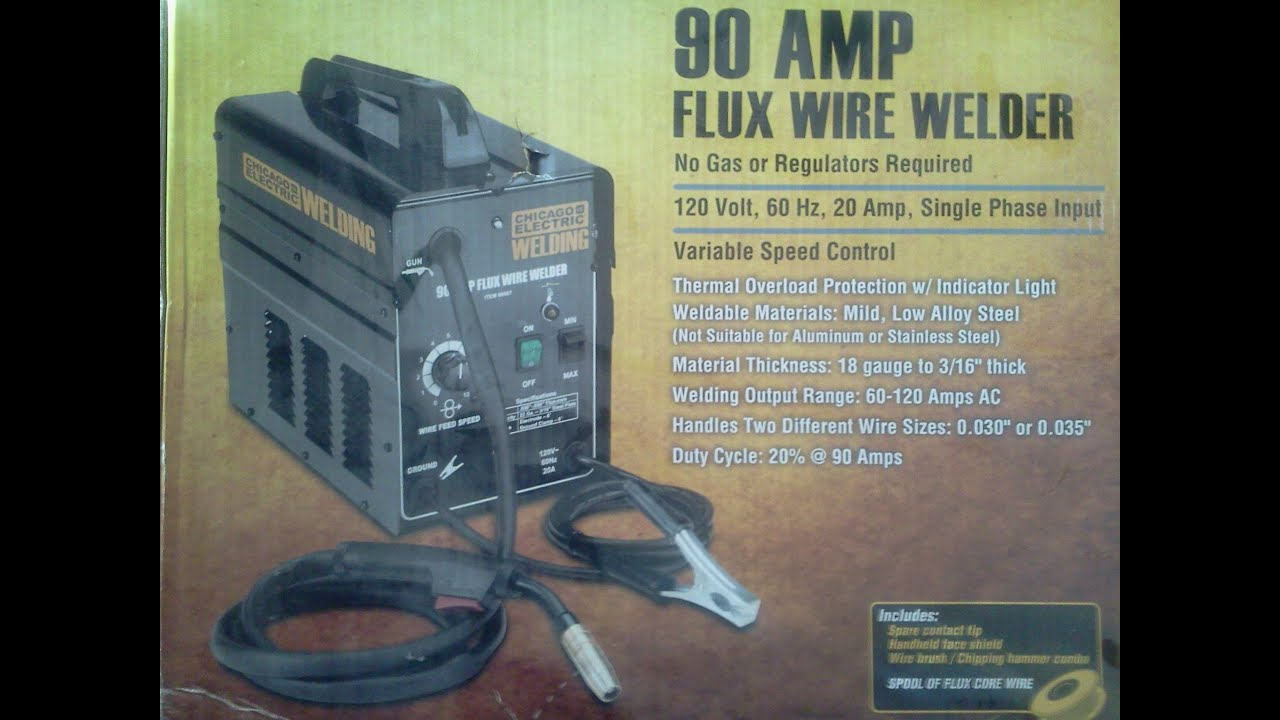 Flux Core Welding Wire >> Chicago Electric 90 Amp Flux Core Wire Welder Unboxing & Setup - YouTube