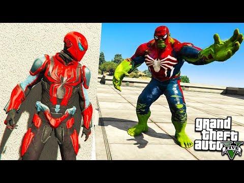 ЧЕЛОВЕК ПАУК ПРОТИВ ХАЛКА ПАУКА В ГТА 5 МОДЫ! IRON SPIDER MAN VS HULK ОБЗОР МОДА В GTA 5 ВИДЕО MODS