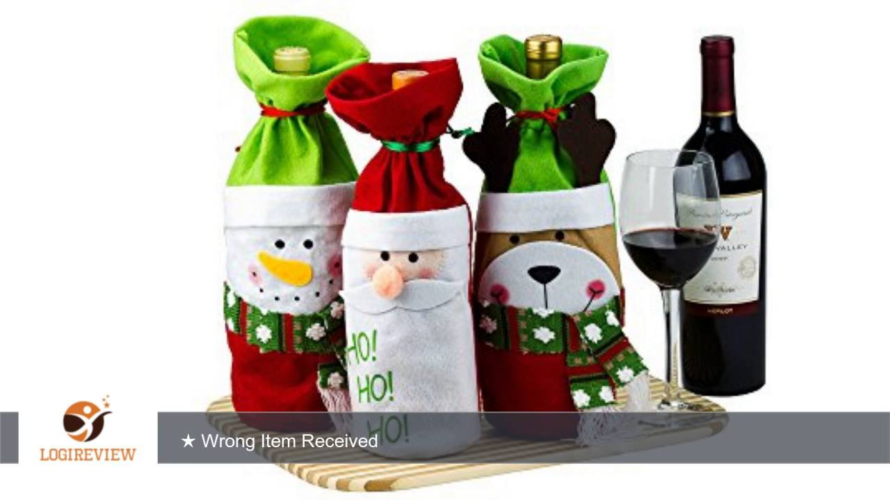 Pack of 4 Christmas Wine Gift Bags Set - 4 Pcs Drawstring Christmas ...