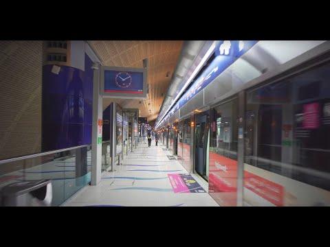 United Arab Emirates, Dubai, Metro night  ride from World Trade Centre to First Abu Dhabi Bank
