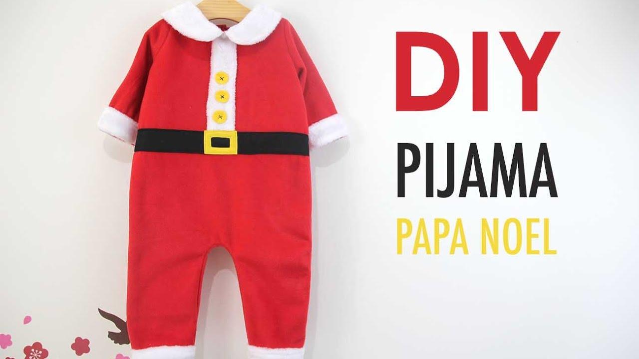 e6656d0f69 DIY Disfraz casero tipo pijama de Papá Noel para bebés - YouTube