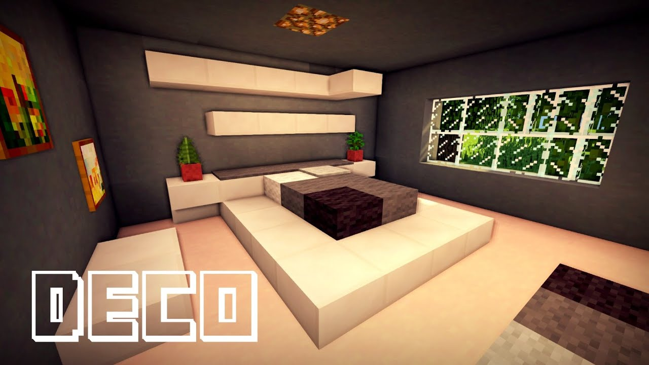 Minecraft creer une chambre moderne youtube for Decoration maison moderne youtube