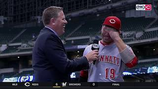 Joey Votto asks if Jim Day wants cliche answer or real answer | Reds Live postgame