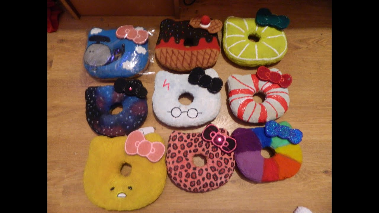 Donut Squishy Collection : Homemade hello kitty donut squishy collection - YouTube