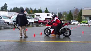 ICBC Motorcycle Skills Test in the rain on a GSXR LIKE A BOSS!