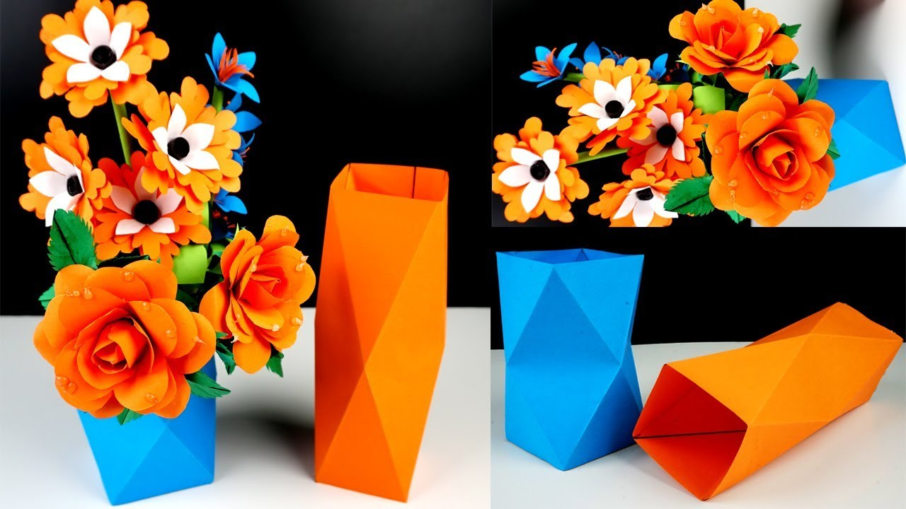 How To Make Simple Easy A Paper Vase At Home Paper Flower Vase Crafts Diy Simple Paper Craft