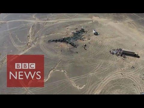 Drone video shows Sinai crash site - BBC News
