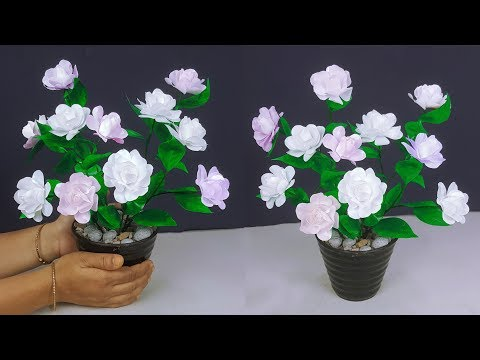 Waste Bags Flower Craft // How to make flower from shopping bags
