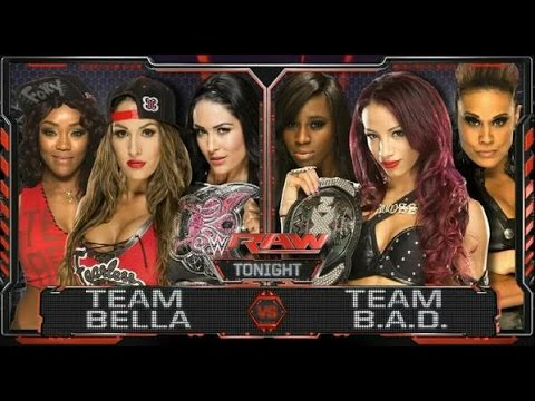 WWE; Team Bella VS Team Bad.  Raw 11-08-2015 ENG thumbnail