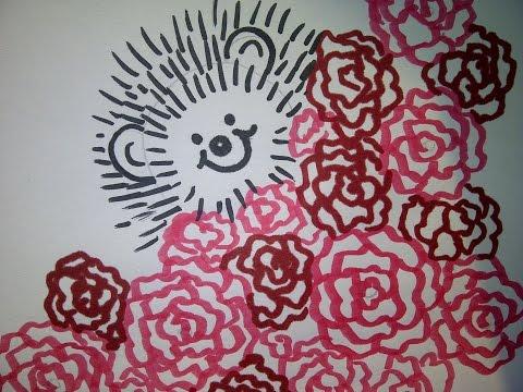 Niedliche Karte mit einem Igel und Blumen. Grußkarten oder Jubiläumskarten selber zeichnen